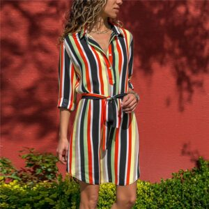 Aachoae Long Sleeve Shirt Dress 2020 Summer Boho Beach Dresses Women Casual Striped Print A-line Mini Party Dress Vestidos